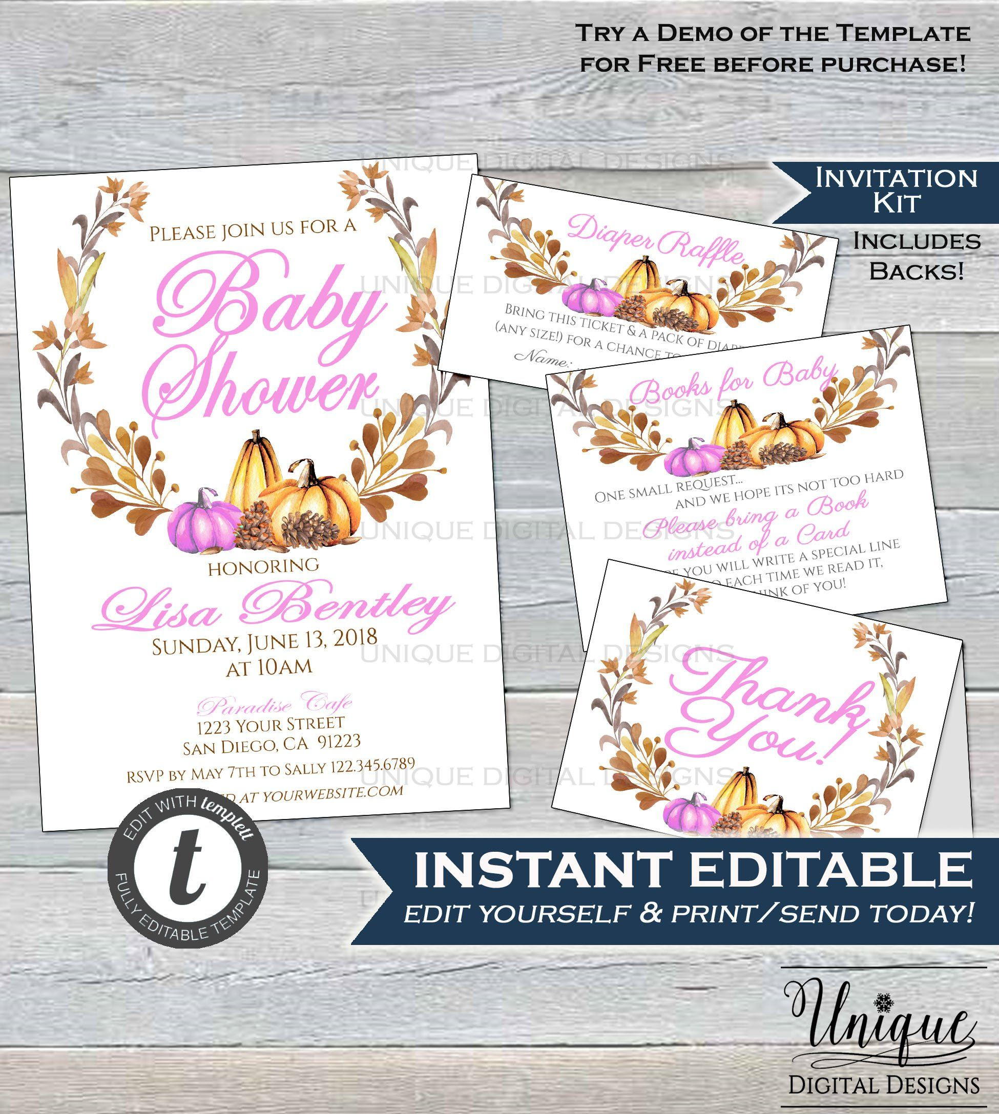 Having a baby pumpkin this fall We love this editable Baby Girl