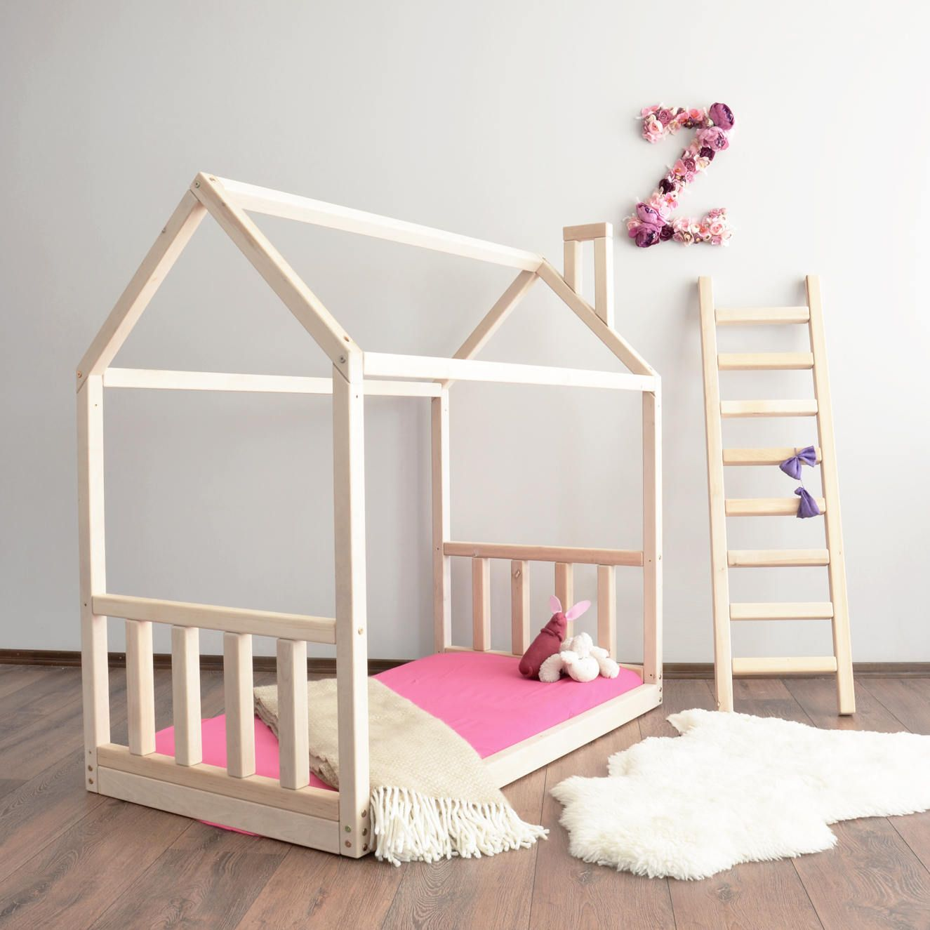 House Bed Frame Toddler Montessori Baby Crib Size Modern Unique