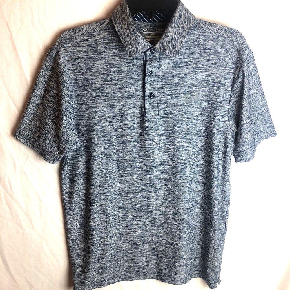 98903ab851 Under Armour Playoff Polo Shirt Mens Small Heather Blue Gray Heatgear Golf # UnderArmour #Polo