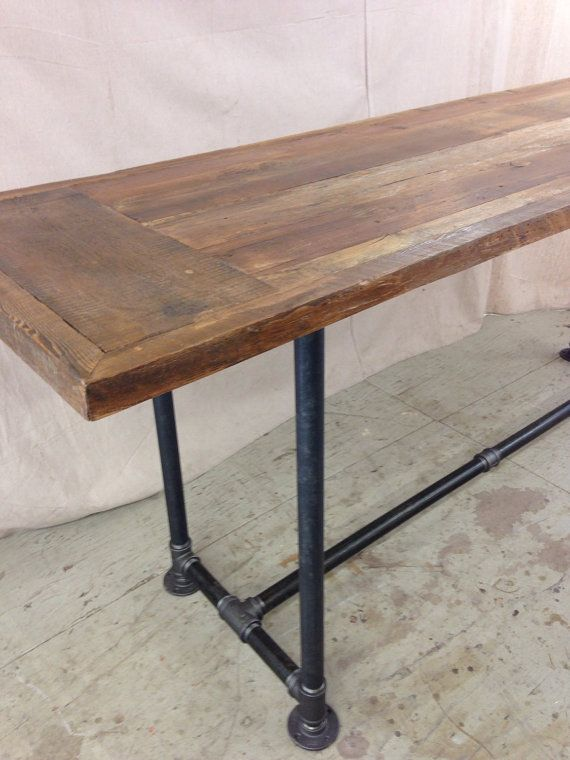 Reclaimed Wood Table 8 Foot X 3 Top 36 Height Pipe Base