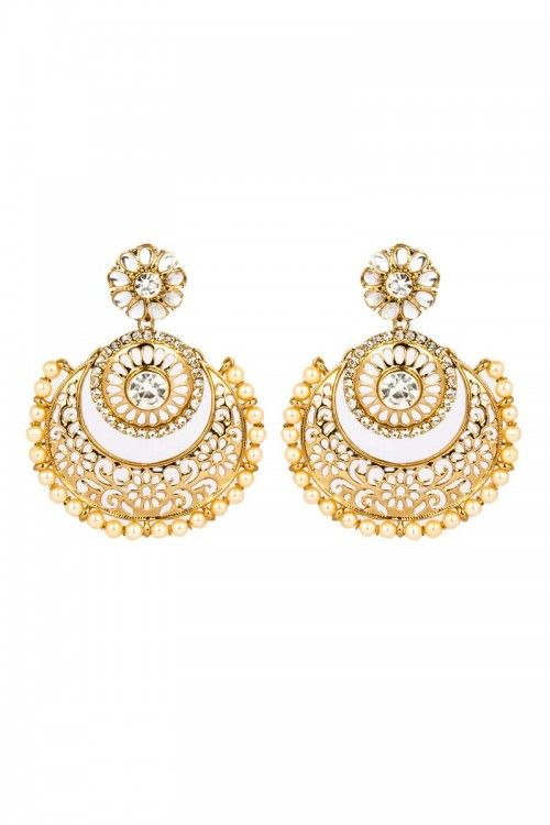 Shop for Latest Indian designer wedding wear earrings online for girls at lowest price   http://www.andaazfashion.co.uk/jewellery/earrings/crystal-studded-jhumka-earrings-80740.html