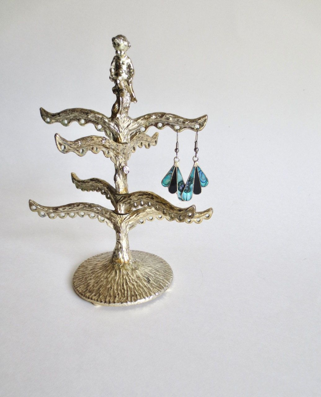 Vintage Earring Holder Vintage Silver Plate Earring Stand Earring Tree Cherub Child Tree Ring Holder Organizer Vintage Silver Earring Stand Vintage Earrings