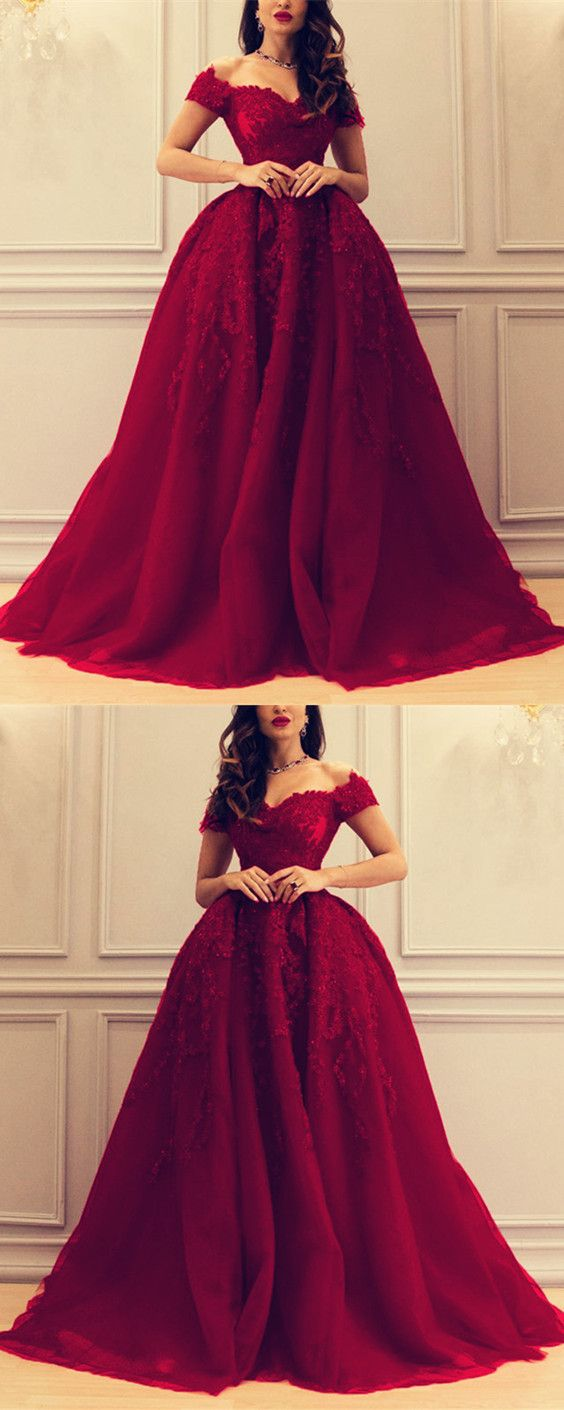Burgundy A Line Sweetheart Tulle Off The Shoulder Prom Dresses Lace Appliques 2018 Elegant Formal Evening Gown Prom Dresses Lace Burgundy Prom Dress Ball Gowns
