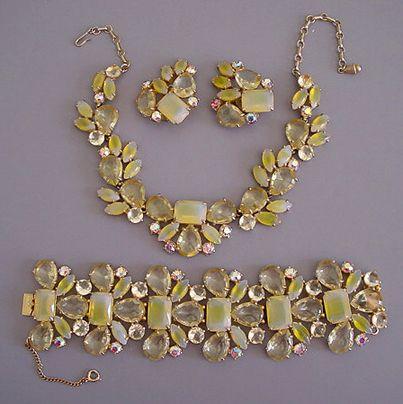 http://www.morninggloryjewelry.com  SCHIAPARELLI yellow unfoiled rhinestone, cabochons and aurora
