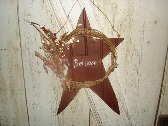 believe star primitive rustic star home decor christmas