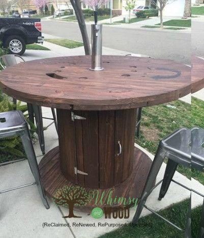 Painted vintage vanity update cable reel wine storage for Wire reel furniture