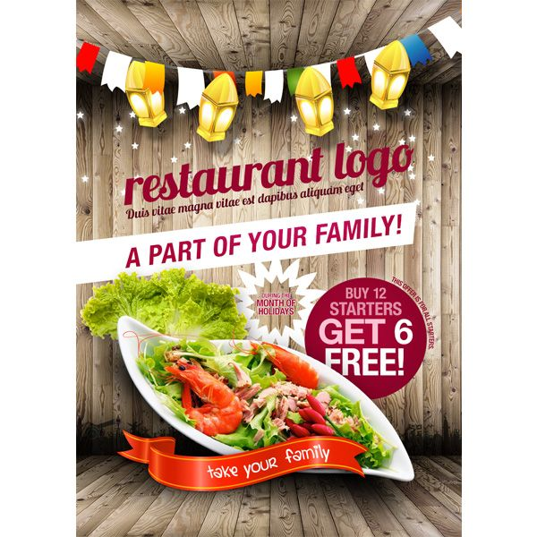 Xoo Plate  Rustic Style Restaurant Flyer Vector Template