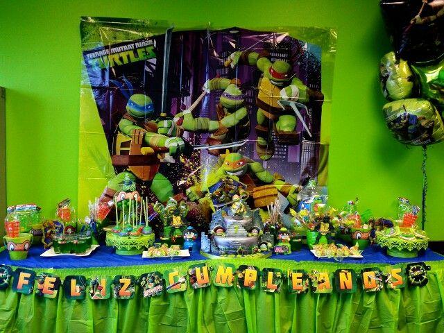 Turtles Ninja Party Candy Table Bufet Ninja Turtle Birthday Ninja Party Ninja Turtle Cake