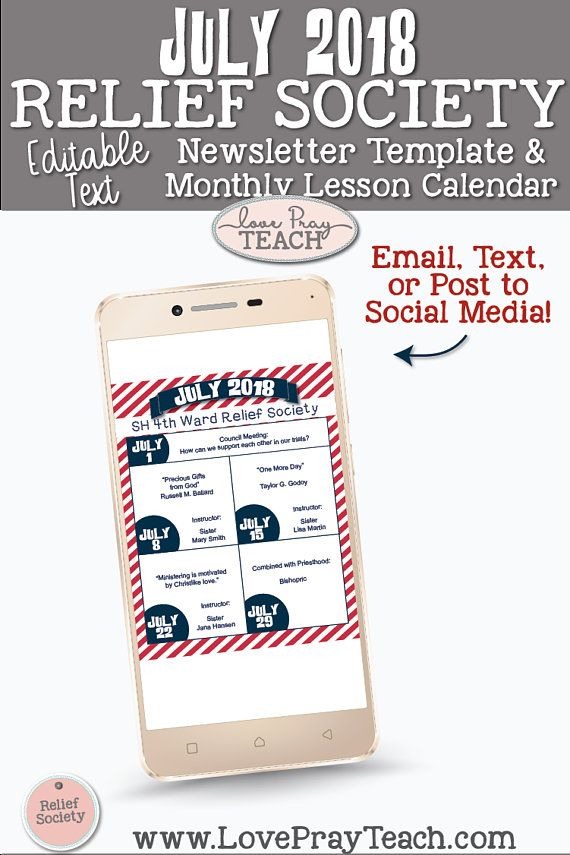 July 2018 Editable Newsletter Template and Relief Society Lesson