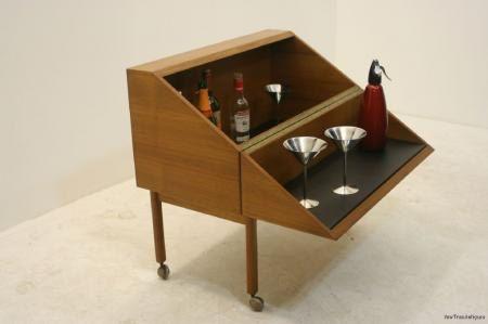 Amazing Teak Danish Fold Away Bar Cocktail Cabinet Cocktail