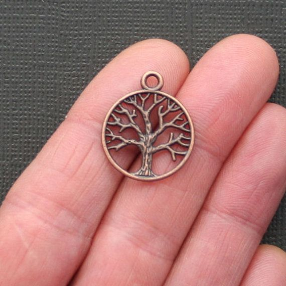 8 Tree of Life Charms Antique Copper Tone 2 by BohemianFindings, $2.50