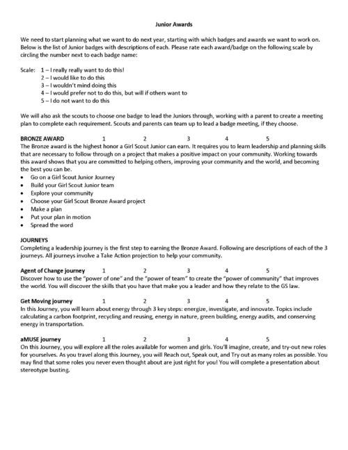 Junior Badges Girl scout juniors, Badges and Filing - how to create evaluation form