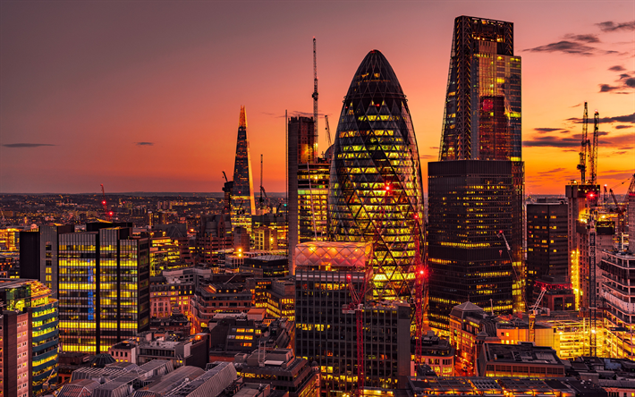 Download Wallpapers London Skyscrapers The Shard 30 St Mary Axe 4k Uk Evening Business Centers City Lights Modern Architecture Besthqwallpapers Com In 2021 Skyscraper Scenic London Wallpaper