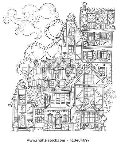 Vector Cute Fairy Tale Town Doodle Vector Line Illustration Sketch