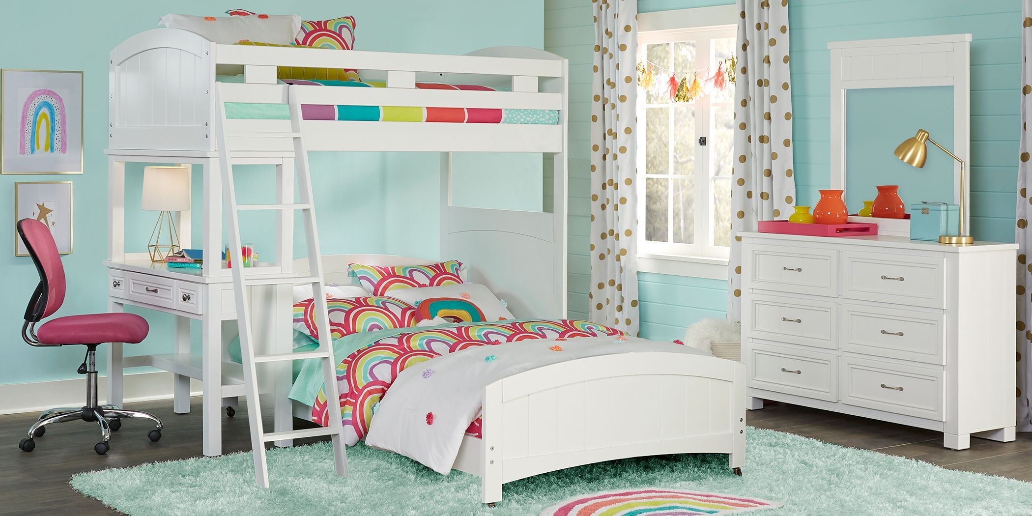 Cottage Colors White Twin Full Loft Bunk Bed With Desk Bed For