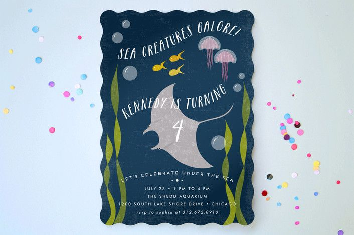 Sea life kids party invitations by lehan veenker at minted boy sea life childrens birthday party invitations by filmwisefo