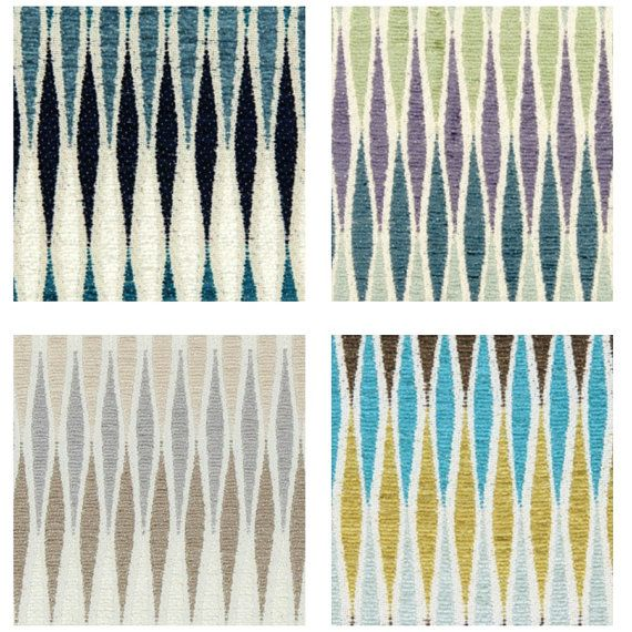 Turquoise And Yellow Chenille Upholstery Fabric Modern Turquoise