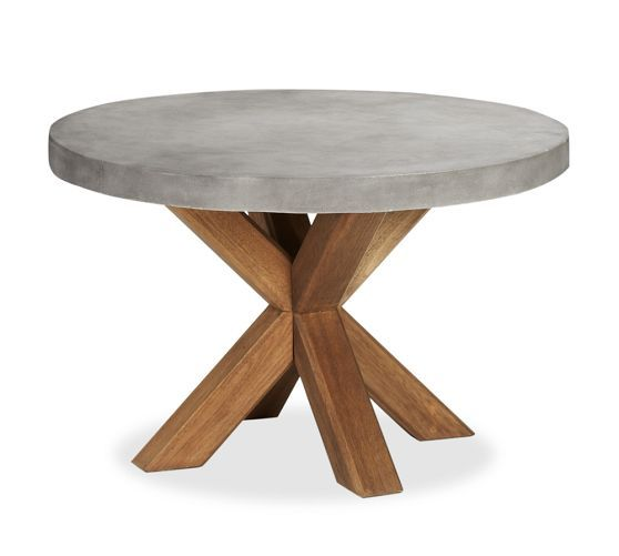 Abbott Round 48 Quot Dining Table Brown Pottery Barn Dining Room Round Dining Table Outdoor Dining Furniture