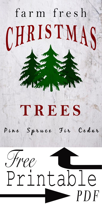 Free Printable PDF Farm Fresh Christmas Trees Fresh