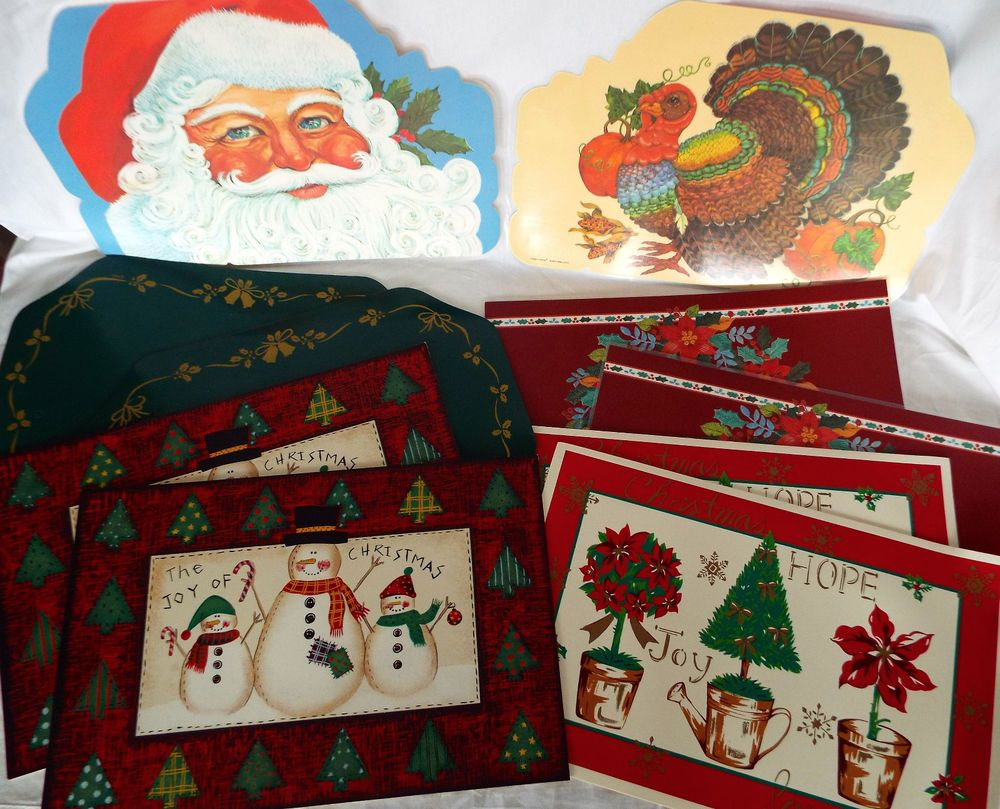 10 Christmas Placemats Foam Backed Laminated Wipe Clean Vinyl Retro Lot Christmas Placemats Placemats Vintage Christmas