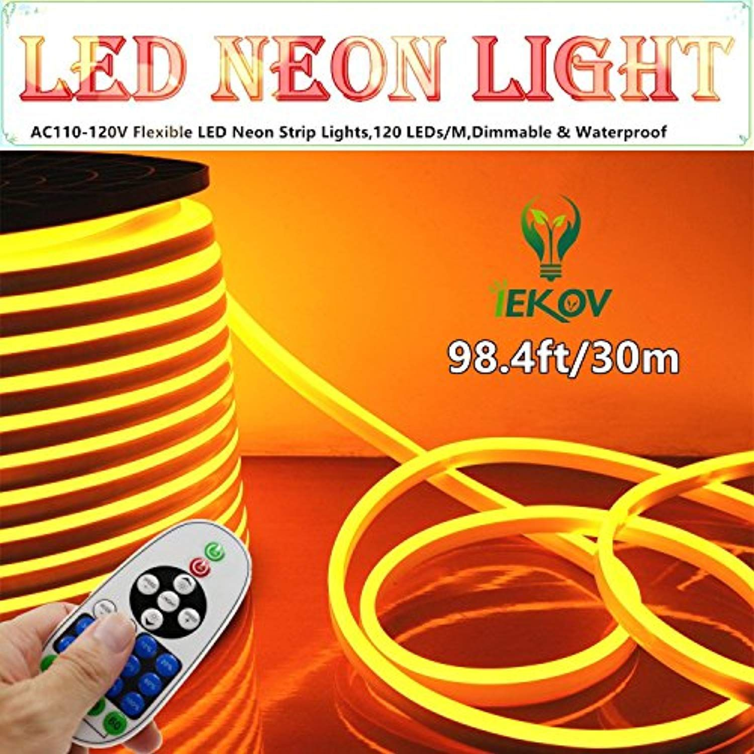 Iekov Led Neon Light Trade Ac 110 120v Flexible Led Neon Strip Lights 120 Leds M Dimmable Waterproof 2835 Led Neon Lighting Led Rope Lights Strip Lighting