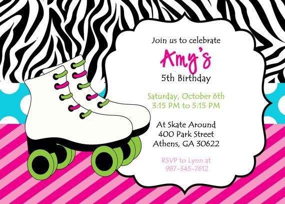 diy printable skating party invitation. zebra print skate invite, Birthday invitations