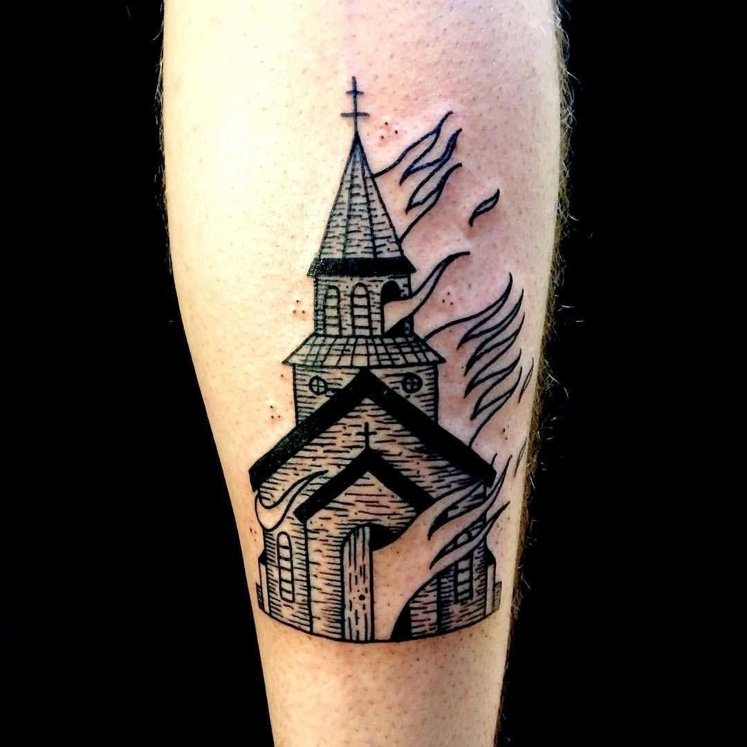 Small Church Tattoo: Burning Church Tattoo Black (With Images)