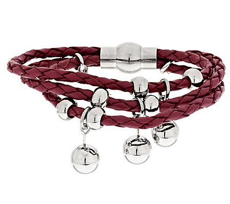 Stainless Steel Polished Bead Multi-Strand Braided Leather Bracelet