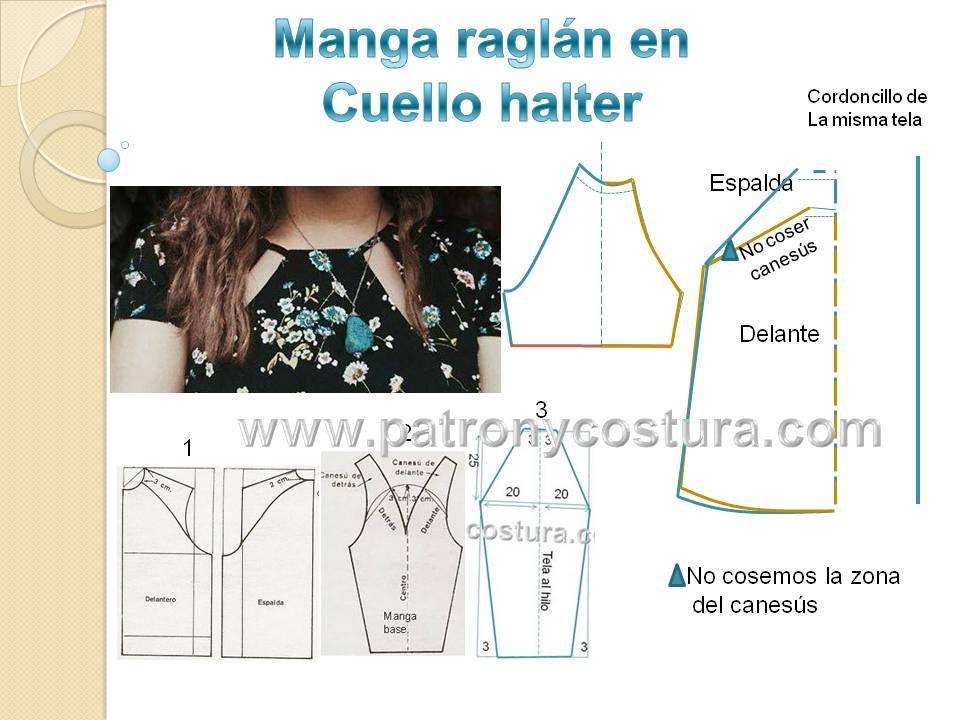 Manga raglán y cuello halter DIY.Tema 186 | TECNICAS DE COSTURA ...