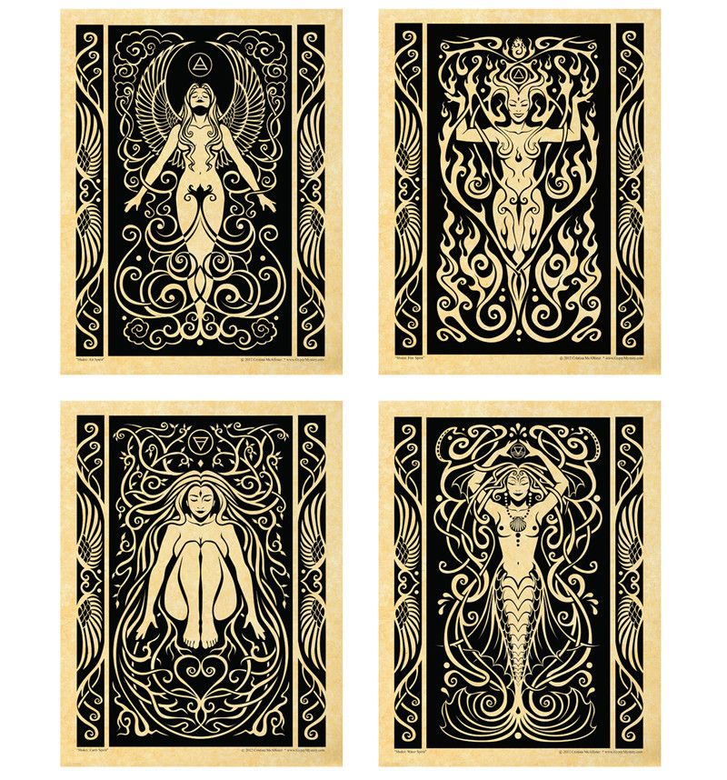 Set of 4 Elemental Shakti Parchment Prints - $40.00 USD - So pretty!