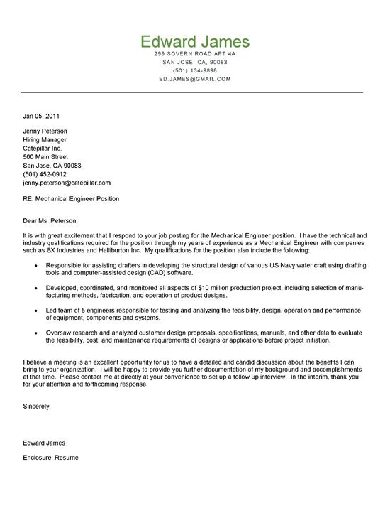 Mechanical Engineer Cover Letter | Cover Letter Examples ...