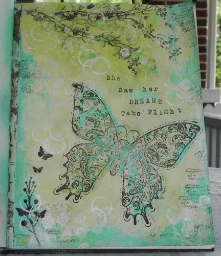 Tattered Angels Glimmer Glaze: Golden Goddess. Tattered Angels Chalkboard: Inchworm. Tattered Angels Glimmer Mist: Turquoise Blue. Tattered Angels Butterfly screen & stamp.