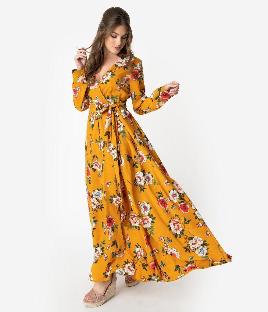 Unique Vintage Mustard Multicolor Floral Long Sleeve Farrah Maxi Dre Maxi Dresses Fall Maxi Dress Short Sleeve Floral Dress [ 1023 x 879 Pixel ]