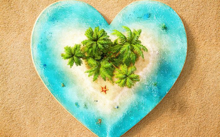 Lataa kuva trooppinen saari, kämmenet, saaren sydän, matka-käsitteitä, romanttista matkustaa, ranta, ocean, 3d island