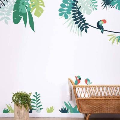 Lilipinso Wandsticker XL Dschungel mit Papagei grün rot in