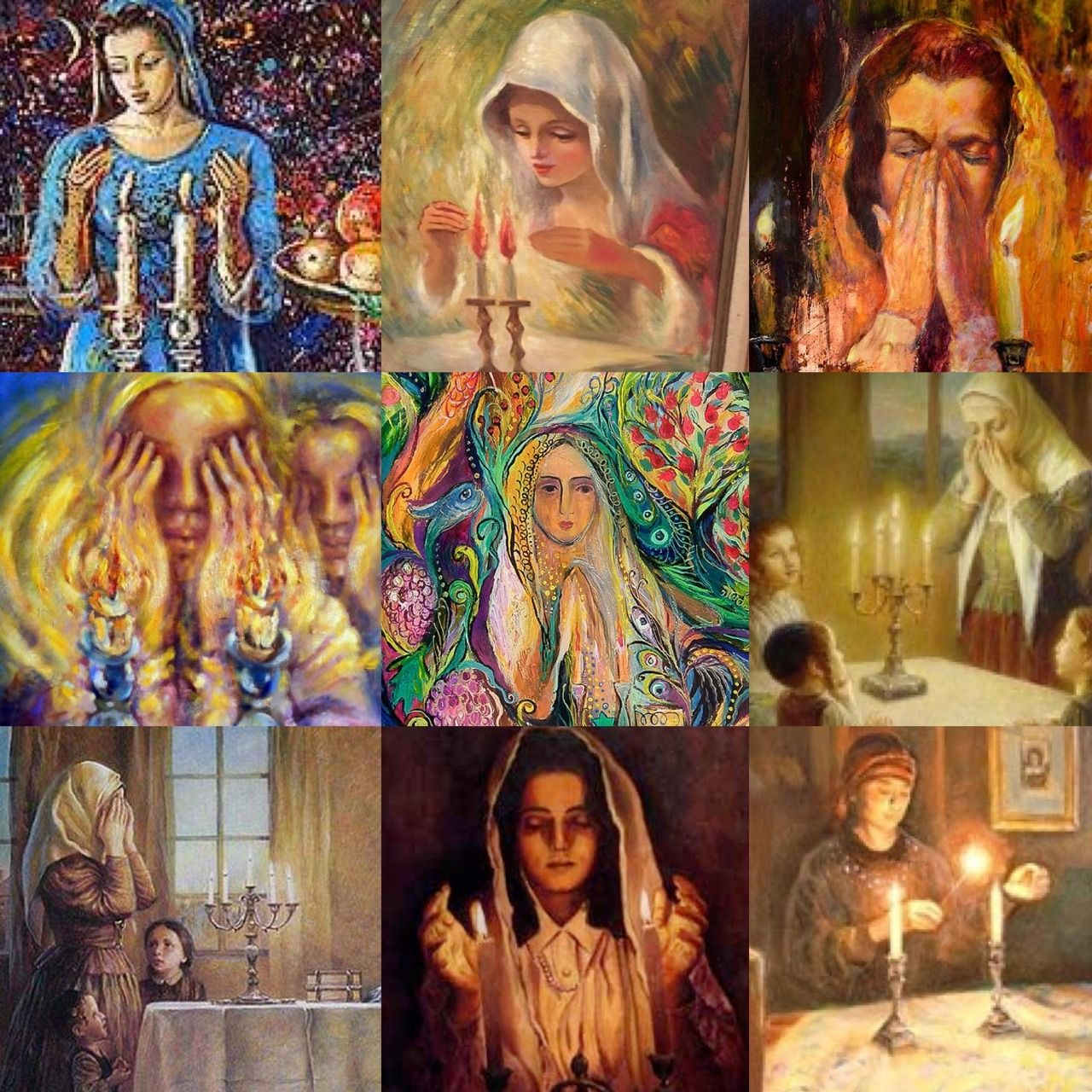 Jewish women lighting Shabbat candles in art | JEWISH ART ...