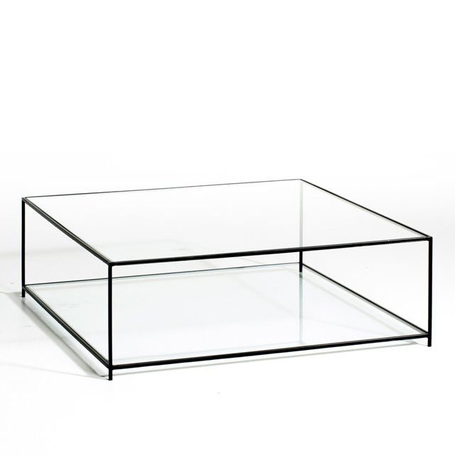 Sybil tempered glass coffee table am pm price reviews for Table basse scandinave ampm