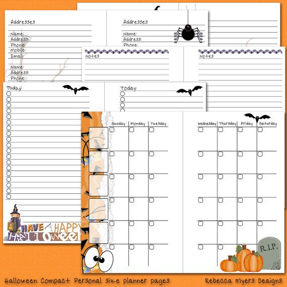 Halloween Filofax Franklin Covey Compact Personal Printable Planner