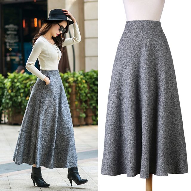 9d45ad6e7fa British Style New Quality Winter Skirt 2016 Autumn Fashion Women s Long Woolen  Skirts Big Buttom A-line Wool Skirts S - XXL