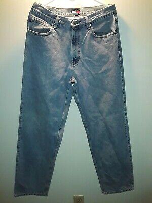 Tommy Hilfiger Blue Jeans Logo On Pocket Distressed Vintage 90s Mens Size 33x34 Jeans Logo Blue Jeans Mens Denim Short