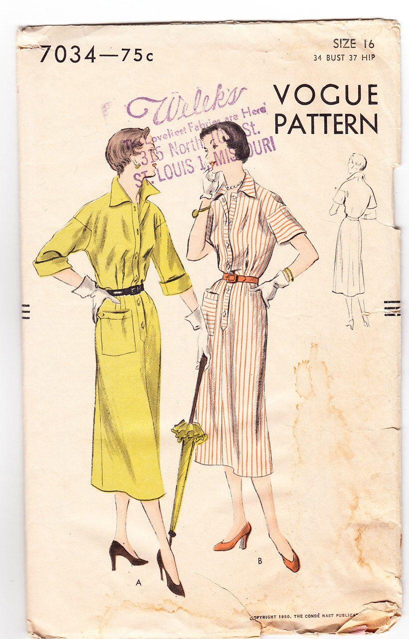 Vintage 1950 Vogue 7034 Sewing Pattern Misses\' One-Piece Dress Size ...