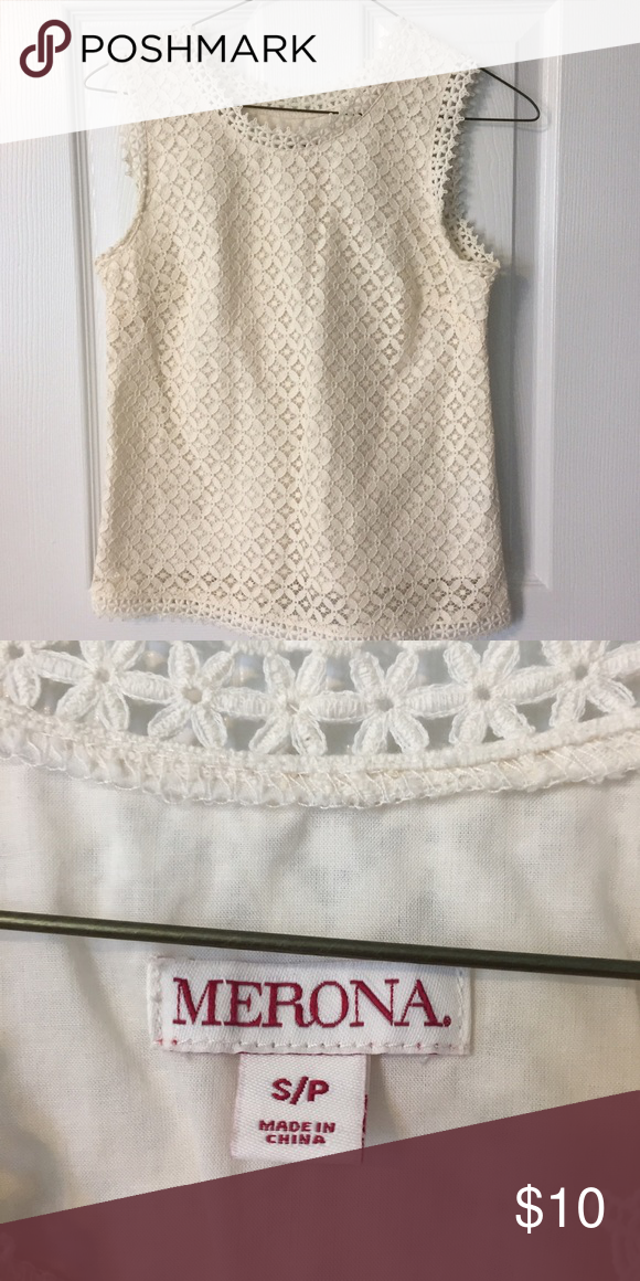 Lace tank top Beautiful lacy tank top, add a blazer and your ready for the office! Also great for layering under sweaters, colorful jewelry adds a pop of color! Merona Tops Tank Tops