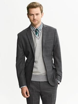 0a806ea54fd8 Banana Republic Modern Slim-Fit Charcoal Wool Suit Jacket Check out on  Stylr~
