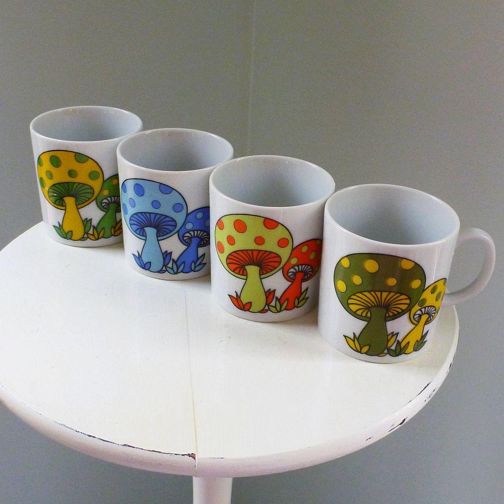 vintage groovy mushroom mugs (set of 4 SI Japan). $24.00, via Etsy.