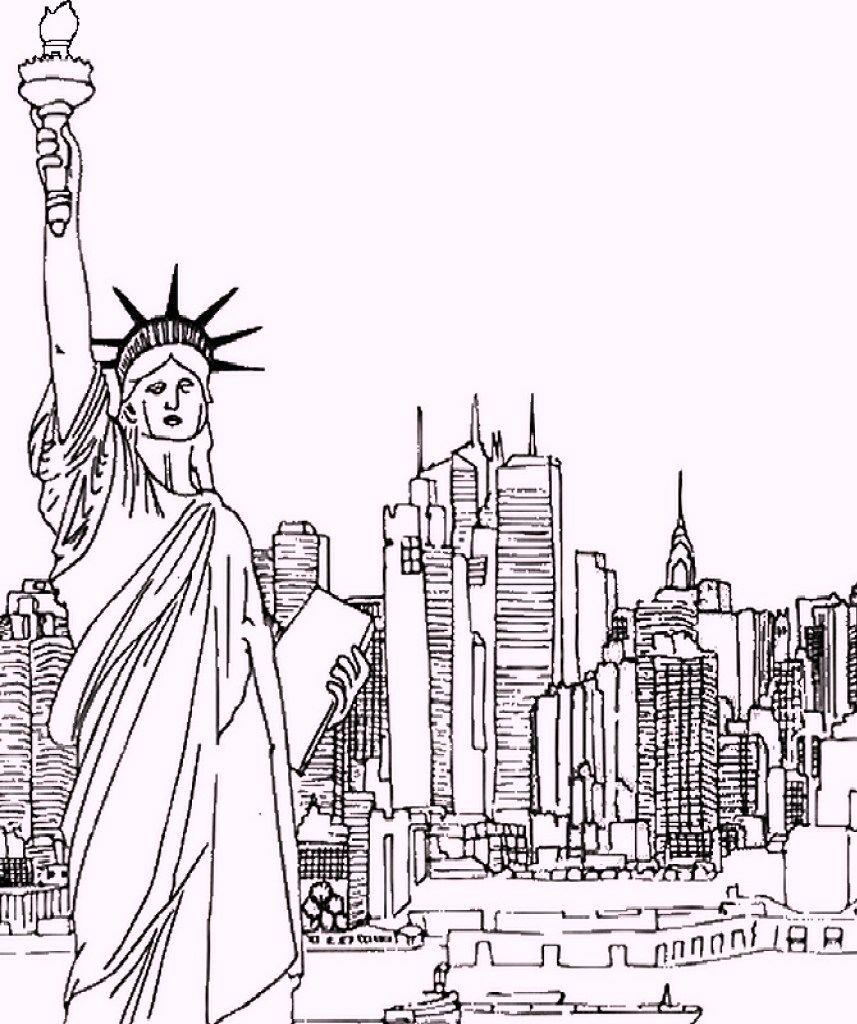 Statue Of Liberty As Landmarks In Newyork Coloring Pages London