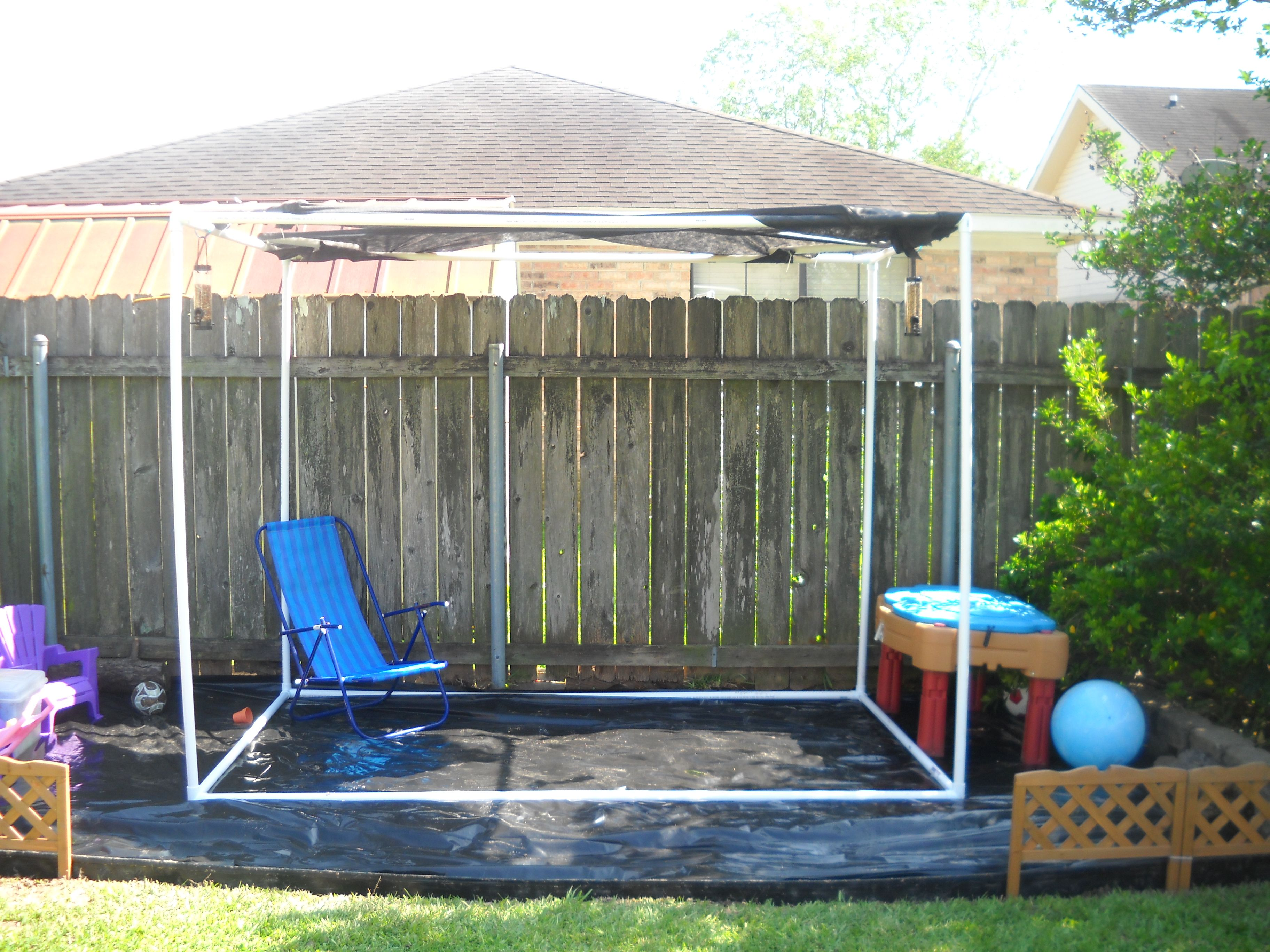 kid 39 s shaded play area i built this today this is our