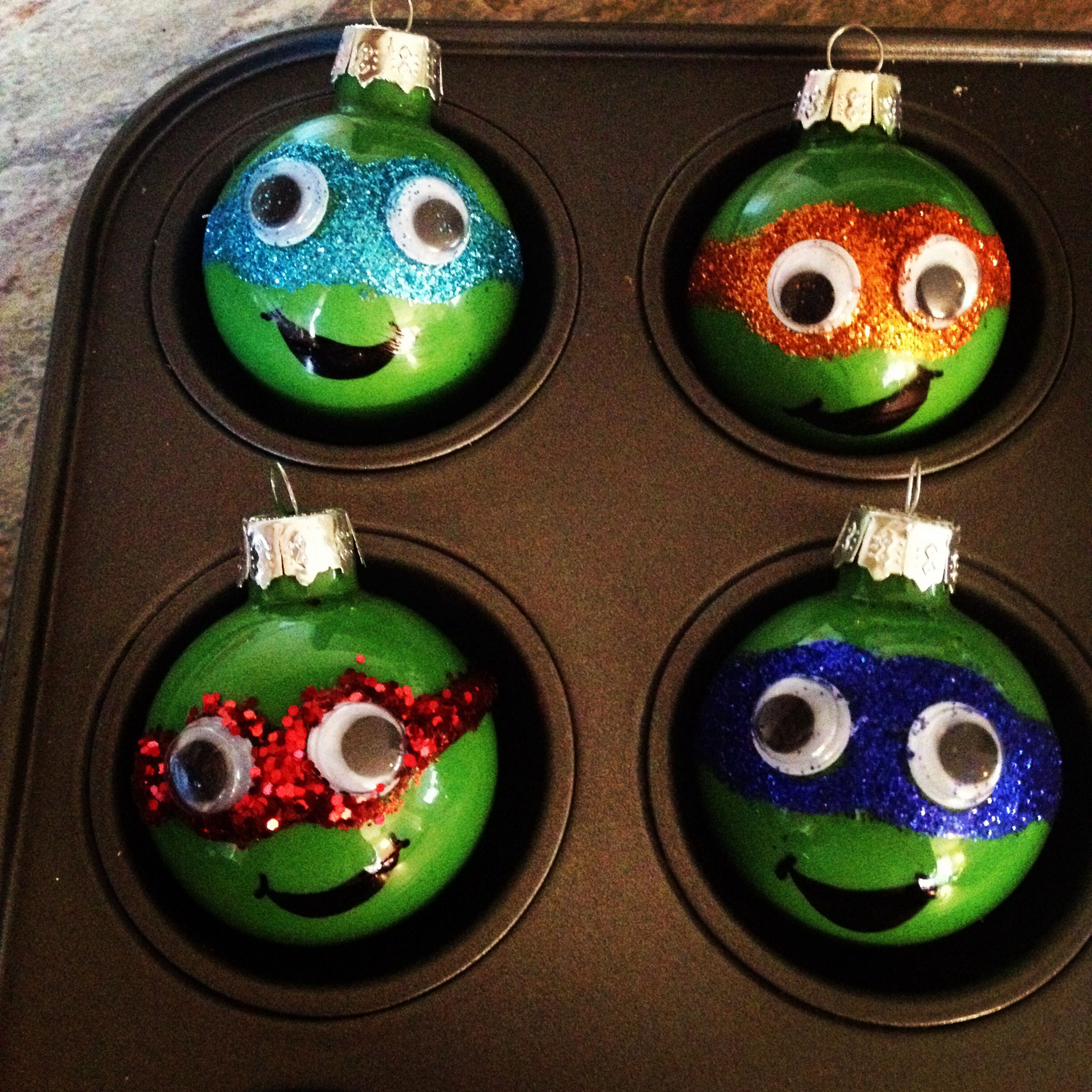 DIY ninja turtle ornaments by The Hobby Mommy www.facebook.com ...