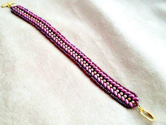 Burgundy Woven Bracelet - Woven Bead Bracelet - Burgundy Bead Bracelet - Burgundy Herringbone Bracelet - Pink Herringbone Weave Bracelet