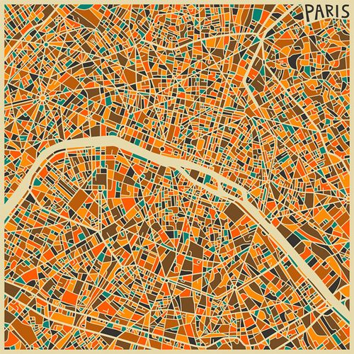 Modern Maps Turned Into Colorful Abstract Art Colorful Abstract Art - Modern map of paris