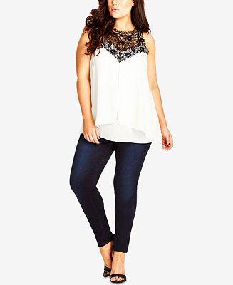 City Chic Plus Size Sleeveless Lace-Yoke Blouse - Trendy Plus Sizes - Plus Sizes - Macy's